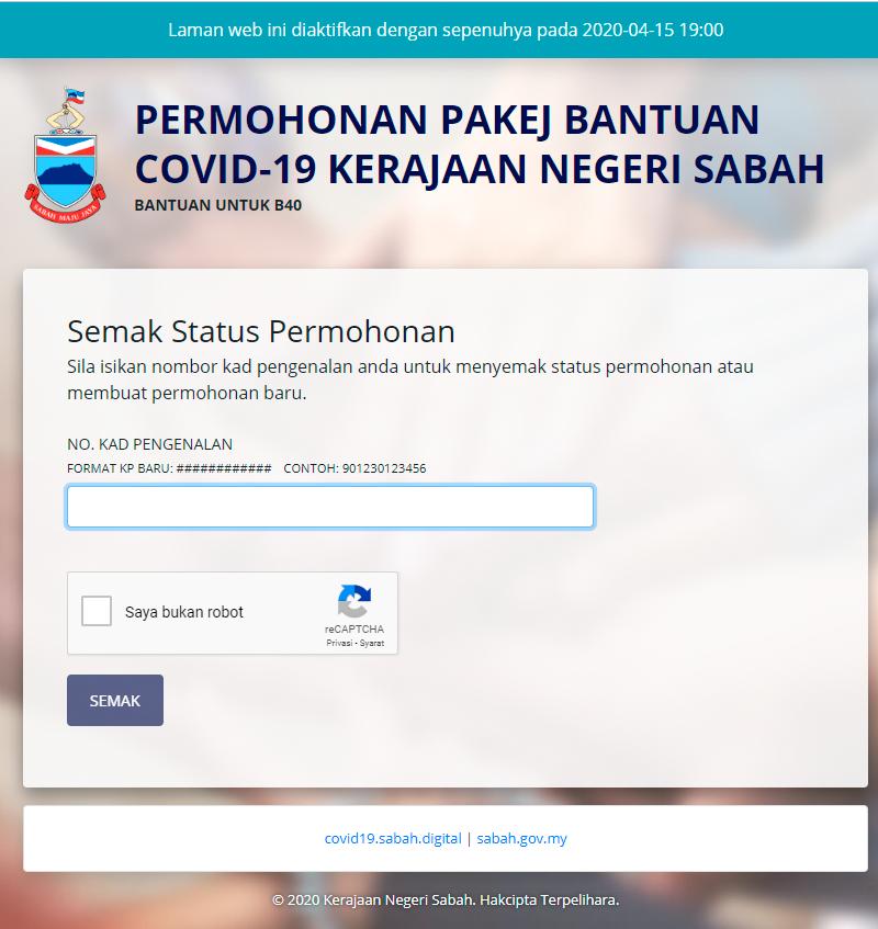 Pakej Bantuan Covid 19 Sabah Bantuan Prihatin Rakyat